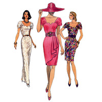 1990s Vogue 8021 SEXY DRESS PATTERN Cocktail dress Evening Gown Shaped Neckline Tapered Skirt Womens Sewing Patterns Size 8 10 12 UNCuT