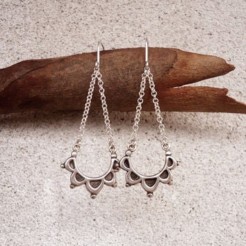 Floral Half Moon Triangle Earrings in Sterling Silver, Iconic Floral Delicate Original Unique Long Earrings, Contemporary Jewelry in Silver