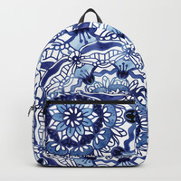 Delft Blue Mandalas Backpack by noondaydesign