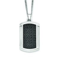 Stainless Steel Brushed and Polished Black IP-plated Dogtag Necklace SRN1959