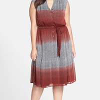 Plus Size Women's Sejour Crinkle Chiffon Peasant Dress