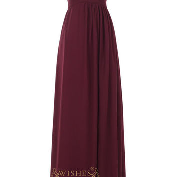 A-line Grape Long Bridesmaid Dress for Bridal Party Am38