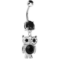 Black Gem Paved Clever Owl Dangle Belly Ring   Body Candy Body Jewelry
