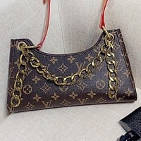 LV Fashion New Monogram Print Leather Shoulder Bag Crossbody Bag Coffee