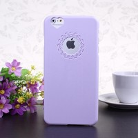 """Wkae@ iPhone 6 Plus 5.5"""" Inch Protective Cover Case - Flower Window and Heart Pattern Hard PU Back Case for iPhone 6 Plus (Lavender)(WILL NOT Fit iPhone 6 4.7 Inch, iPhone 5 5S 5C 4 4S)"""