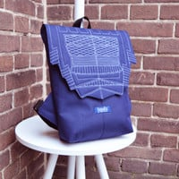 Backpack dark blue hipster backpack rucksack cycling bag everyday small mini backpack Zurichtoren geometric simple minimalist backpack bag