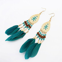 Summer Fashion Jewelry Bohemia Ethnic Vintage Long Feather Water Drop Earrings