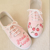 Pink cherry painted lace up canvas shoes