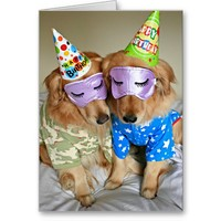 Golden Retriever in Pajamas Birthday Greeting Card