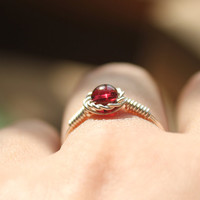 Garnet Wire Wrapped Ring, Sterling Silver Wire Ring,Red Garnet Ring Silver,Wire Wrap Ring,Wire Wrapped Jewelry,Gift for her,Garnet jewelry