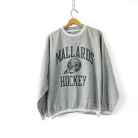 Vintage Mallards Hockey sweatshirt Inside Out Fuzzy Sweatshirt pullover Sports Sweatshirt Men's size XXL