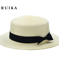 New Fashion Flat  Sun Hat Women's Summer  bow  Straw Hats For Women Beach Headwear 12 Colors chapeau femme  Gift