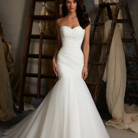 Ruched Tulle Mermaid Wedding Dress  Up White/Ivory Marry Dresses Bridal Dresses