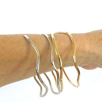 Gold and silver bangles, set of 2 free form bracelets, bohemian tribal cuffs, gift under 30