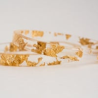 thin stacking bangle - transparent eco-resin with gold flake