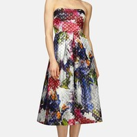 Women's Phoebe Floral Jacquard Strapless Midi Fit & Flare Dress