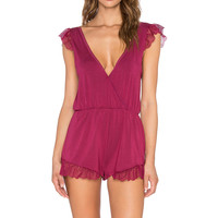 Wildfox Couture Lace Romper in Bordeaux & Vanilla