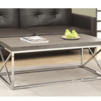 Wood Taupe Contemporary Coffee Table