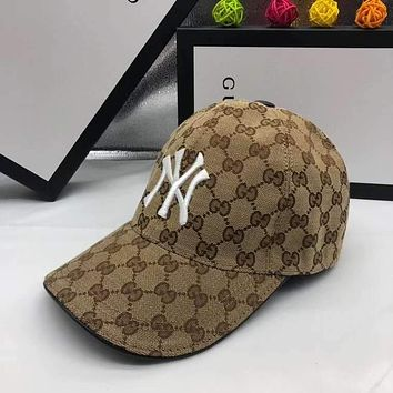 """NY"" Unisex Fashion Letter Embroidery Printing Cowhide  Baseball Cap Peaked Cap Couple Cap Sun Hat"