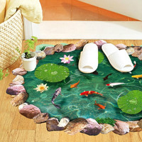 new cartoon goldfish lotus bedroom living room wall stickers removable waterproof toilet 3D stickers home decor SM6