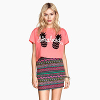 Pineapple Letters Print Short Sleeve Cropped Graphic Tee