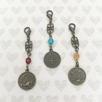 SALE - Zodiac Gift - Zodiac Accessories - Zodiac Charm - Zipper Pull - Purse Charm - Handbag Jewelry - Clip On for Bag - Boot Zipper Charm