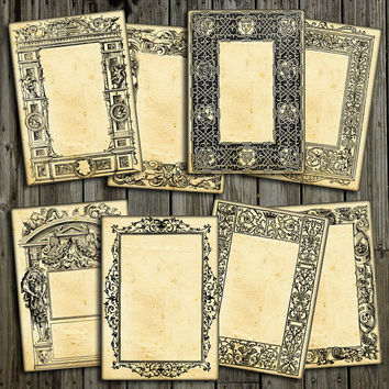 Gothic Frames ATC ACEO steampunk cards for Scrapbooking, Jewelry Holders, Tags Printable Digital Collage Sheet