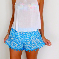 Turquoise Pom Pom Shorts - Blue and White Swirl Print with Large Aqua Pom Pom's