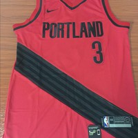 Portland Trail Blazers #3 C.J. McCollum Red Swingman Basketball Jersey