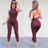 macacao feminino Women Sexy Backless Bodycon Jumpsuit Romper Slim Clubwear Backless Bodysuit Overall Rompers IMY66