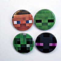 """Minecraft Character Faces 4x1.5"""" pinback button badge set from Stickerama"""