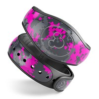 Bright Pink and Gray Digital Camouflage - Decal Skin Wrap Kit for the Disney Magic Band