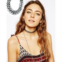 Vintage Stretch Tattoo Choker Necklace Retro Gothic Punk Elastic vogue = 1669386244