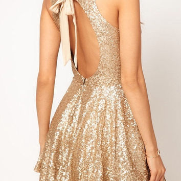 Gold sequin mini boutique dress, backless, bow back