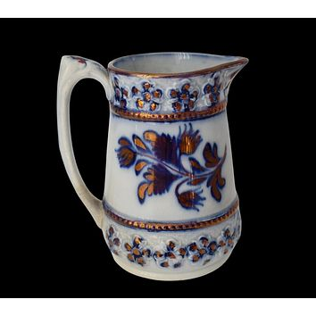 Antique Flow Blue Copper Luster Earthenware Pottery Pitcher Creamer Charles Allerton Sons Victoriana