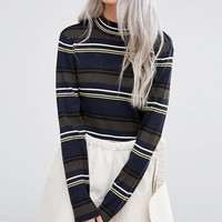 Weekday Stripe High Neck Jumper at asos.com