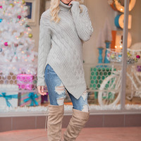 Point At You Cable Knit Turtleneck Pointed Hem Sweater (Heather Grey)