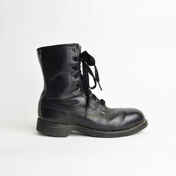 Vintage 80s Black Leather Combat Boots / Ansi Biltrite Military Boots - men's 4 / women's 6