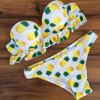 Cute Fruit Pineapple Print Swimwear Brazilian Push Up Swimsuits