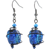 Blue Dichroic Glass Dangle Earrings MADE WITH SWAROVSKI ELEMENTS | Body Candy Body Jewelry