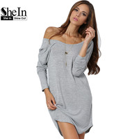 SheIn Clothing For Women Sexy Dresses High Street Casual Long Sleeve Round Neck V Back Tshirt Short Dress