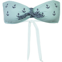 Sperry Top-Sider Anchor Your Style Tie Front Bandeau Bikini Top - Women's Seafoam,