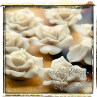 6 PCS X 40mm Big Polymer Clay White Rose Cabochon with Matte Finish Resin Flat Back -Decoden Mini Decoration Craft Art Deco Supplies (FL05W)