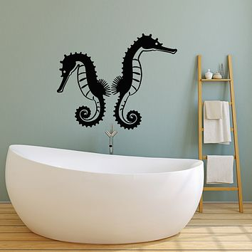 Vinyl Wall Decal Sea Ocean Animals Nautical Couple Seahorses Stickers Mural (g3763)