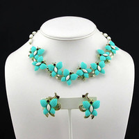 Turquoise Necklace Butterfly Glass Beads & Earrings signed Duane