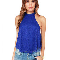 Lace Tank Top With Halter Neck