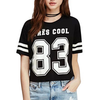 Black Sporty Number 83 Print Short Sleeve T-Shirt