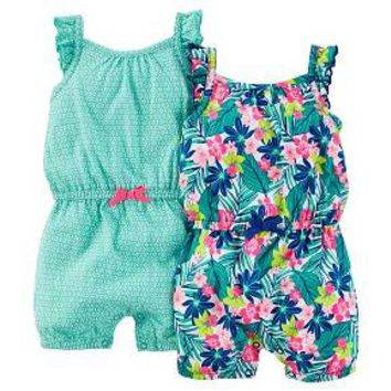 Just One You™Made by Carter's® Baby Girls' 2 Pack Tropical Print Rompers - Teal/Blue