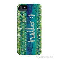 Hello, Blue, iPhone 5 Case, iPhone Case, Funky Abstract Art, iPhone cases, by Ingrid, iPhone 5S case
