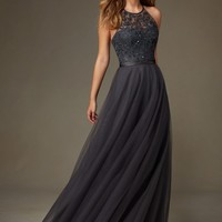 New 2017 Grey Silver Long Tulle Bridesmaid Dresses Beaded Embroidery Halter Floor Length Maid Of Honor Wedding Party Dress B202